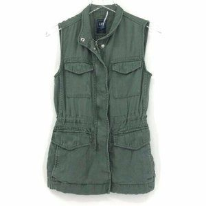 GAP Womens XS Utility Vest Olive Army Green Zip *
